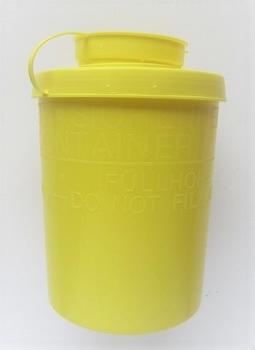 Container voor wegwerp naalden / mesjes etc.