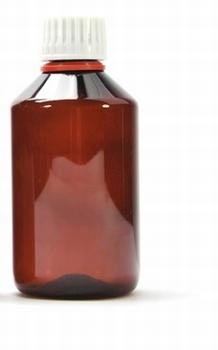 5 X Plastic fles Amber 200 ml + witte garantiesluiting dop
