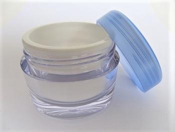 Luxe dubbelwandige 50 ml creme potje met blauwe deksel