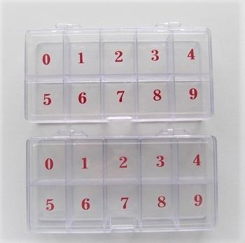 2 fraaie tip dozen met nummer aanduiding 1,90 excl.