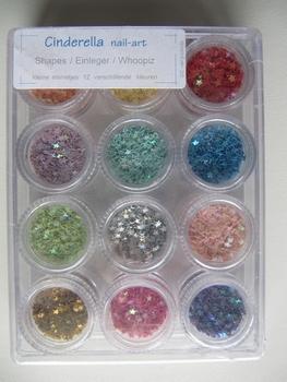 Kleine nail-art sterretjes 12 verschillende kleuren
